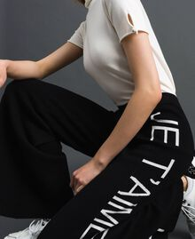 Pantalon palazzo en maille avec logo Jacquard Noir / Blanc Neige Femme 192TP3329-04