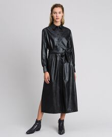 Faux leather long shirt dress Black Woman 192ST2010-01