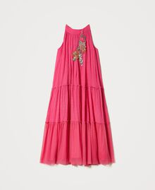 """Muslin long dress with patch embroidery """"Fuchsia Purple"""" Pink Child 211GJ2QC2-0S"""