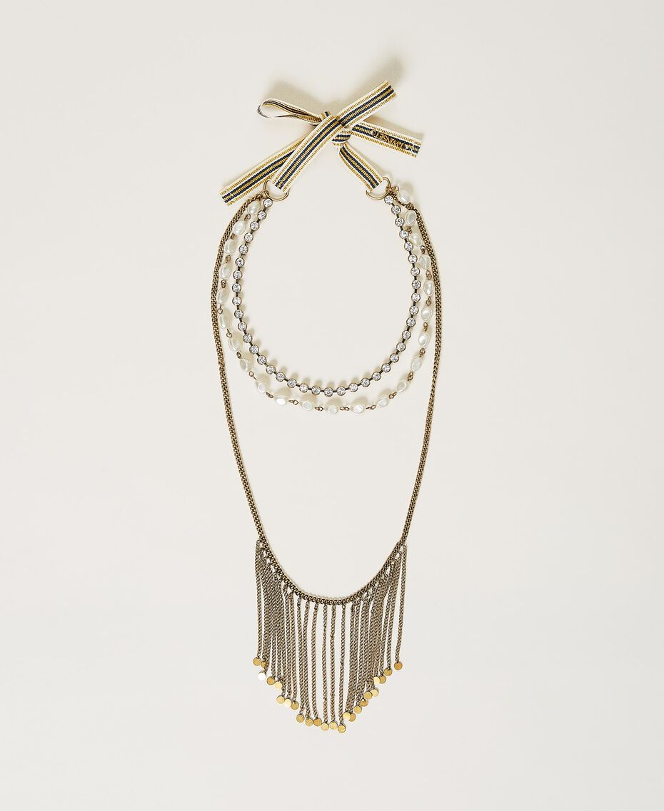 """Multi-round necklace with fringes """"Aged Coppery Brass"""" Gold Woman 211TO501D-01"""