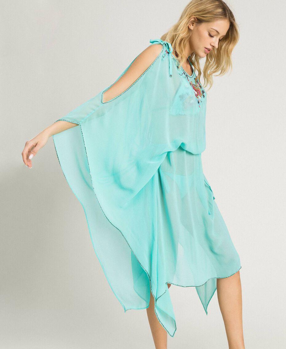 Вышитое платье-кафтан из крепона Голубой мусс женщина 191LB21AA-02