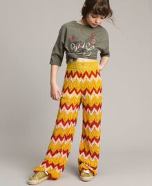 Multicolour jacquard trousers Multicolour Jacquard Child 191GJ2272-0S