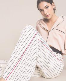 Pantalon en crêpe de Chine rayé Rayé Vanille / Noir Femme 201MP2101-06