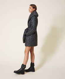 """Optical print puffer jacket Black /""""Nude"""" Beige Optical Print Woman 202ST2190-04"""