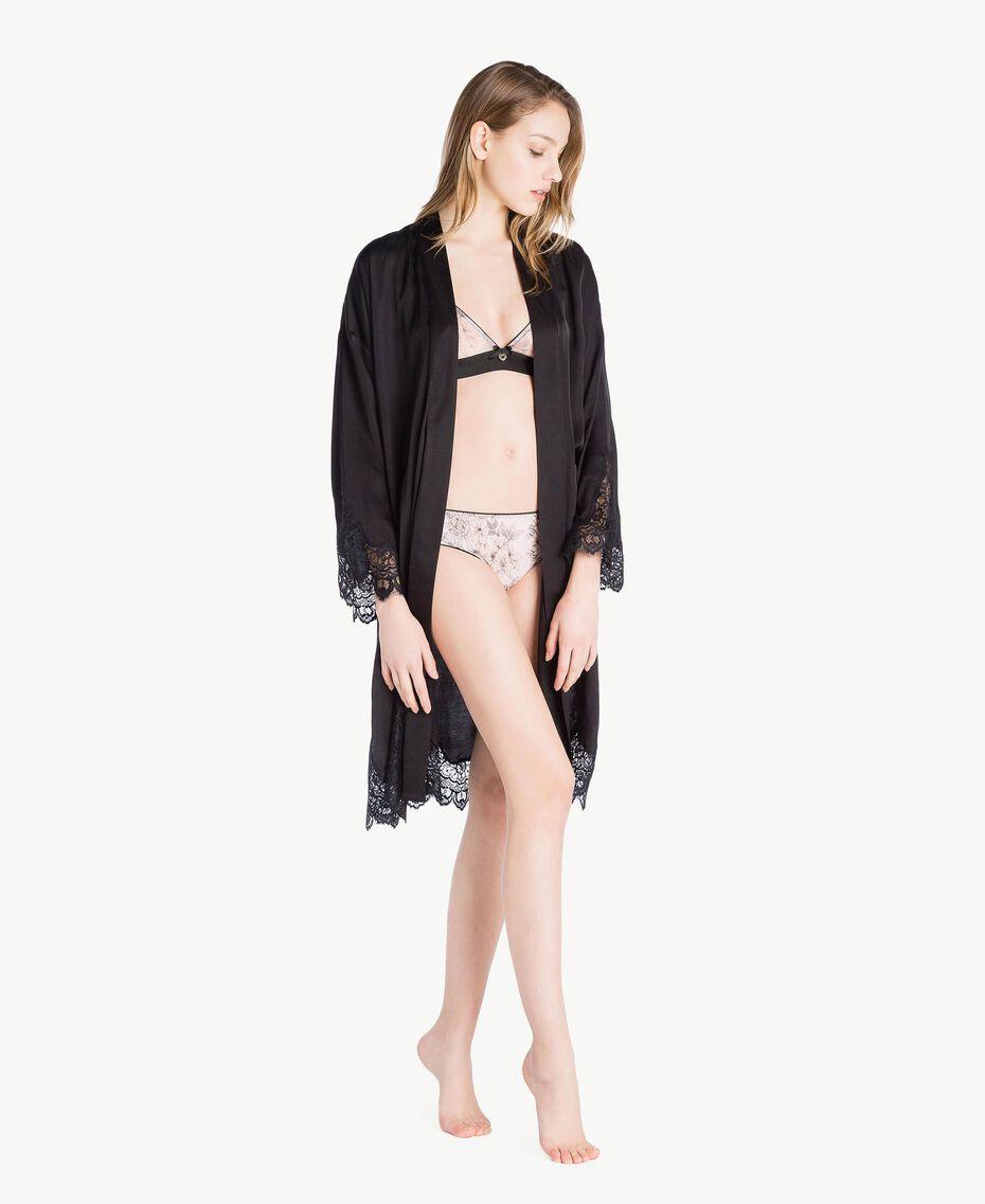 Unterkleid aus Satin Schwarz Frau LS8CKK-02