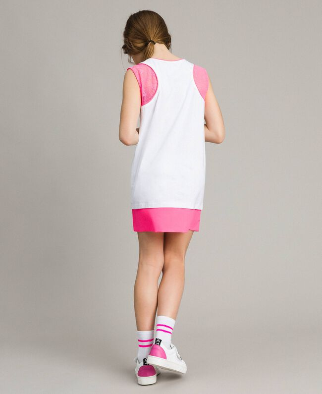 "Mini jersey dress with lace and print Two-tone Optical White / ""Crystal Pink"" Child 191GJ2044-03"