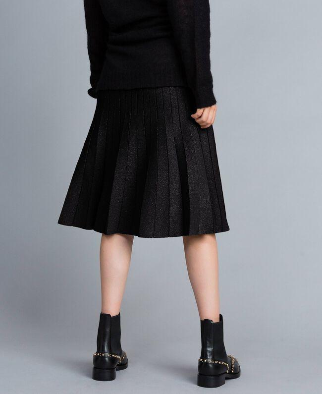 Jupe mi-longue en maille plissée lurex Noir Lurex Femme PA83CD-03