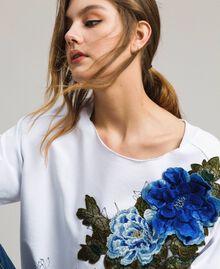 Sweatshirt mit Aufdruck und Stickerei Weiß Frau 191MT2351-04