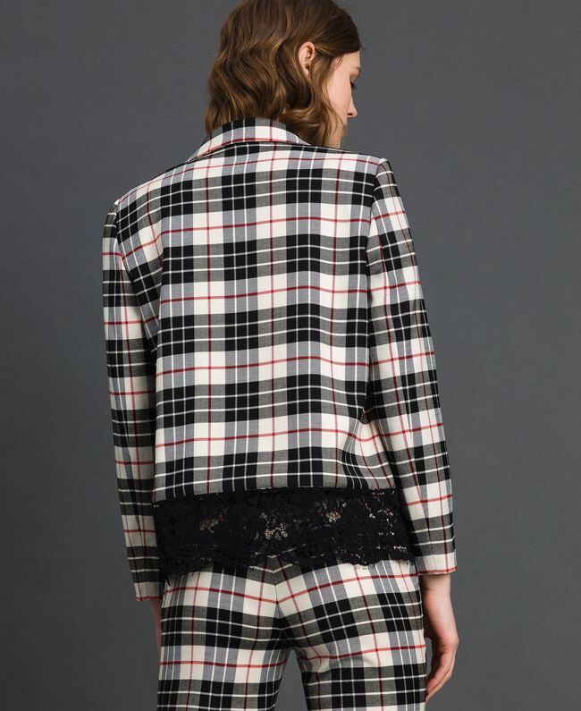 "Chequered blazer with lace ""Snow"" White Tartan Jacquard Woman 192TP2620-03"