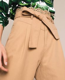 """Canvas trousers with broderie anglaise """"Dune"""" Beige Woman 201TP2015-02"""