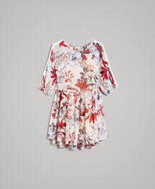 Tunikakleid aus Georgette mit Blumenprint Motiv Exotisch Ecru Frau 191ST2222-0S