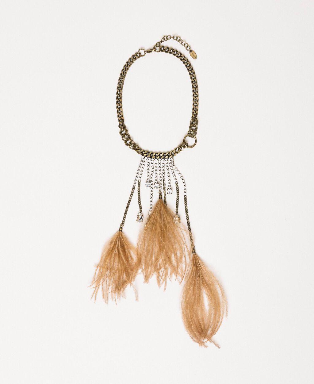 Collier ras-de-cou avec pierres, plumes et strass