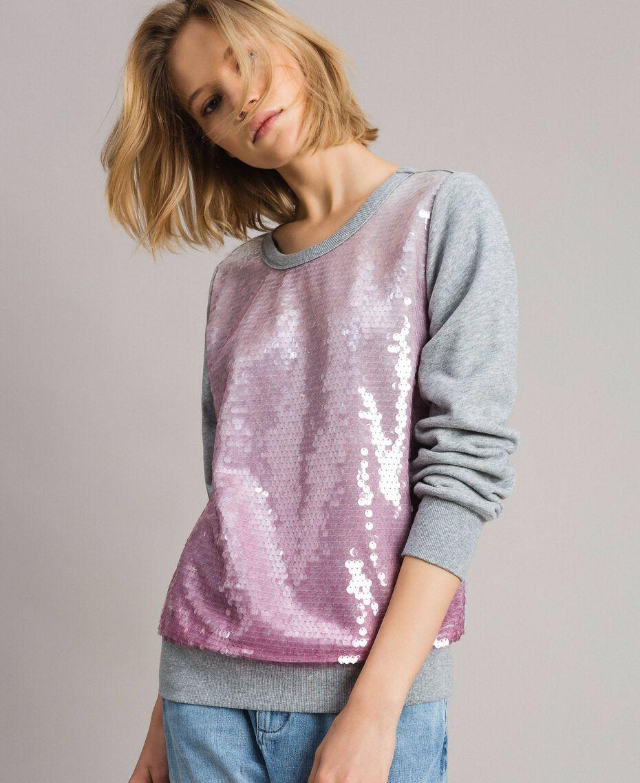Sweat-shirt avec sequins dégradés Bicolore Mélange Gris Clair / Rose Hortensia Femme 191MP2073-01