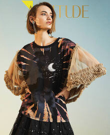"""T-shirt with print and tulle sleeves Two-tone Black / """"Biscuit"""" Brown Moon Print Woman 211MT2491-01"""