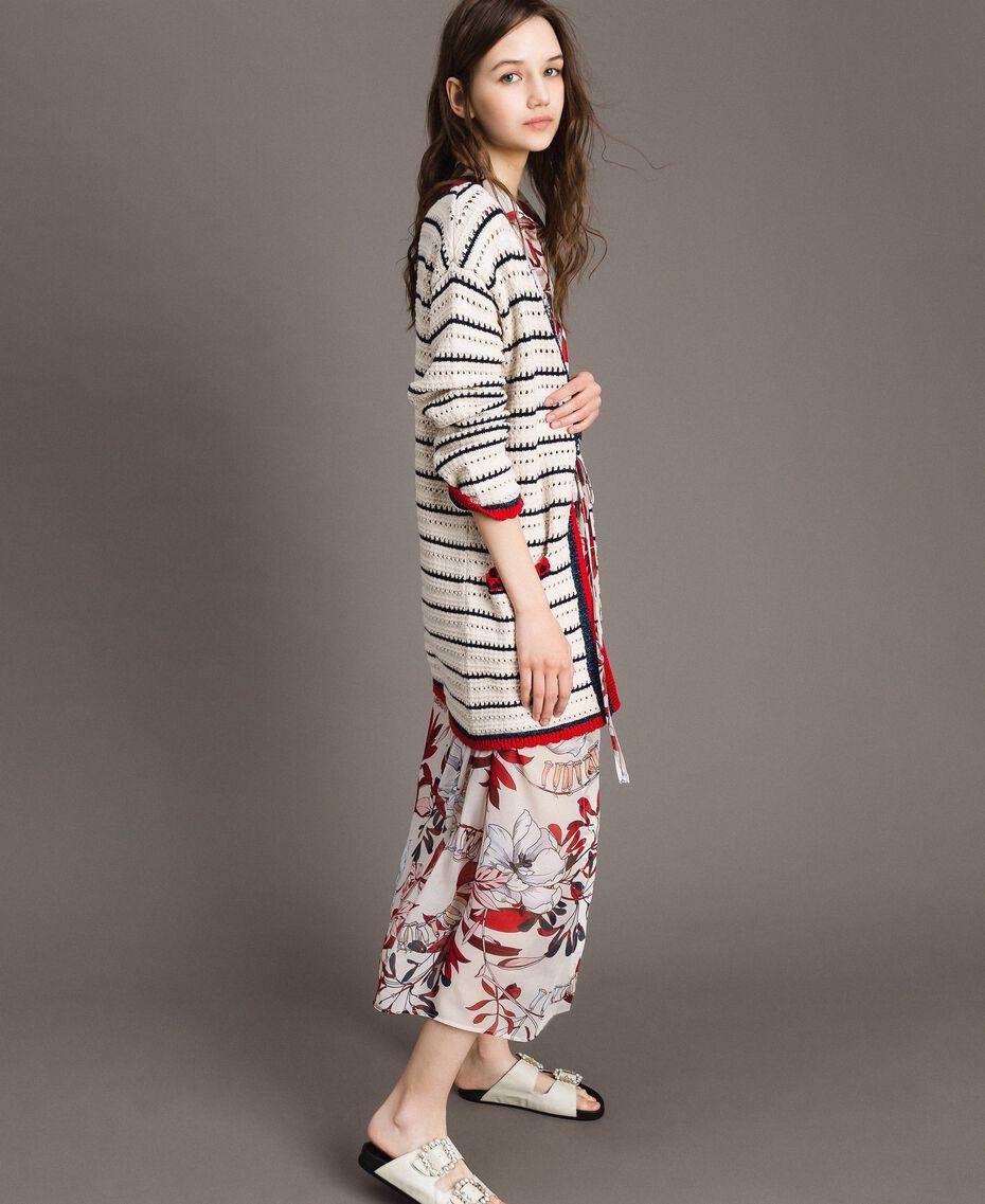 "Openwork knitted cardigan Multicolour Ecru / ""Poppy"" Red / Blue Shadow Woman 191ST3091-02"