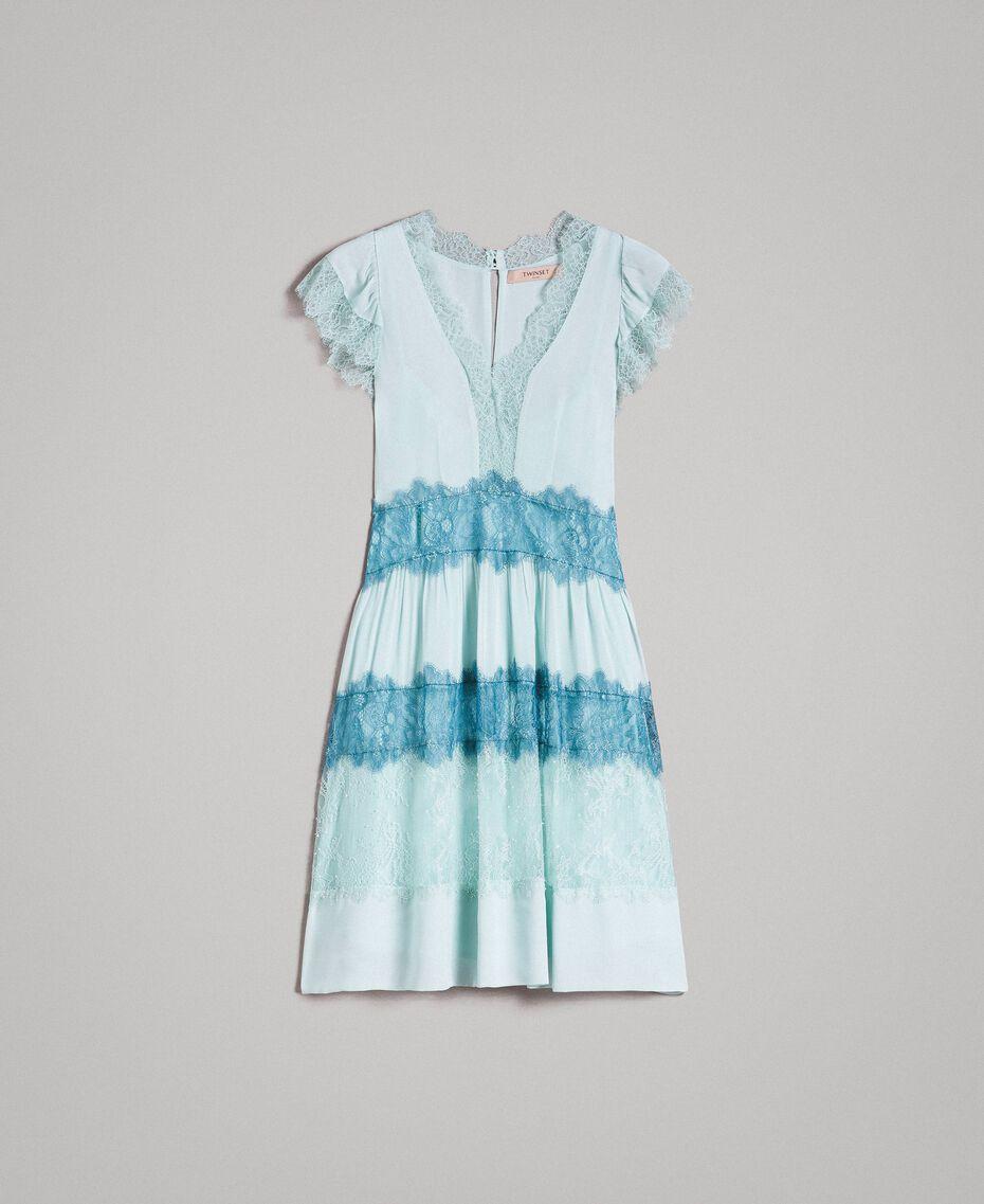 "Georgette and lace dress Two-tone Mikonos Light Blue / ""Aquamarine"" Light Blue Woman 191TP2772-0S"