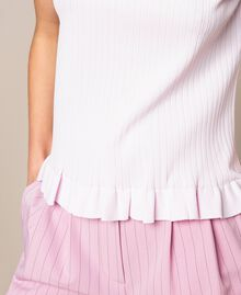 "Ribbed top with ruffle Pale ""Candy"" Pink Woman 201ST3122-05"