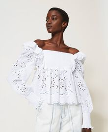 Muslin blouse with broderie anglaise embroidery White Woman 211TT2592-01