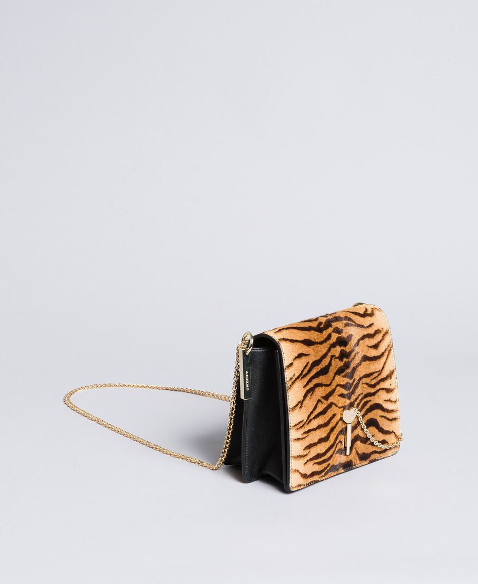 Leather and calf hair shoulder bag Tiger Print Woman OA8TDT-02