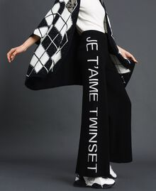 "Knit palazzo trousers with logo Black / ""Snow"" White Jacquard Woman 192TP3329-01"