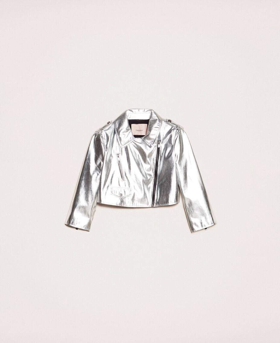 Cropped-Jacke aus Metallic-Lederimitat Silber Frau 201TP2410-0S