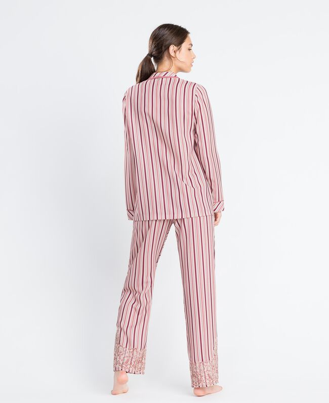 "Striped pyjamas with lace Multicolour ""Baroque Rose"" Pink Stripe Woman IA8DNN-03"