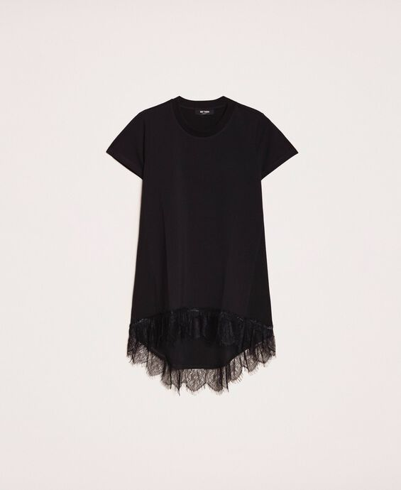 Maxi T-shirt with Chantilly lace