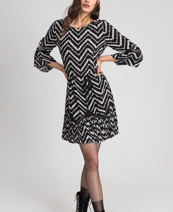 Floral and chevron print dress with lace