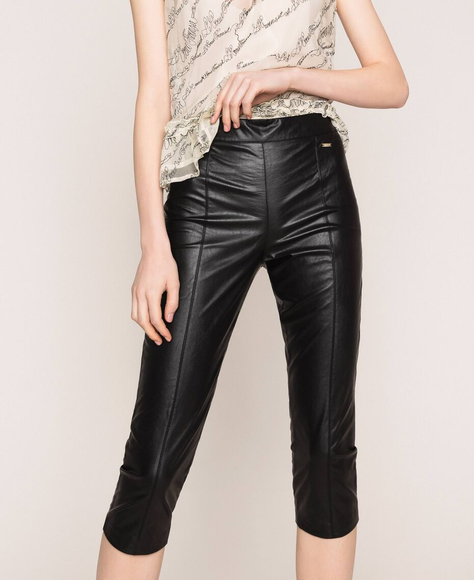 Faux leather leggings with stitches Black Woman 201ST2113-01