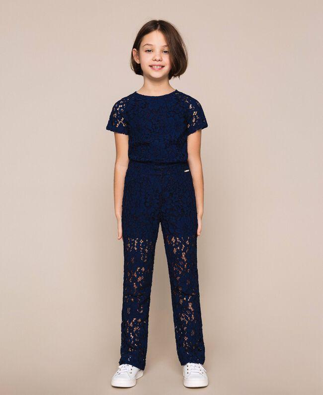 Macramé lace trousers Night Blue Child 201GJ2QL0-01