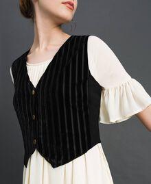 Gilet court en velours dévoré Noir Femme 192MP2251-01