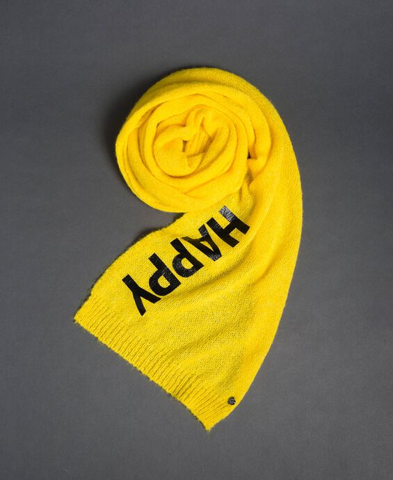 Knit scarf with lettering print