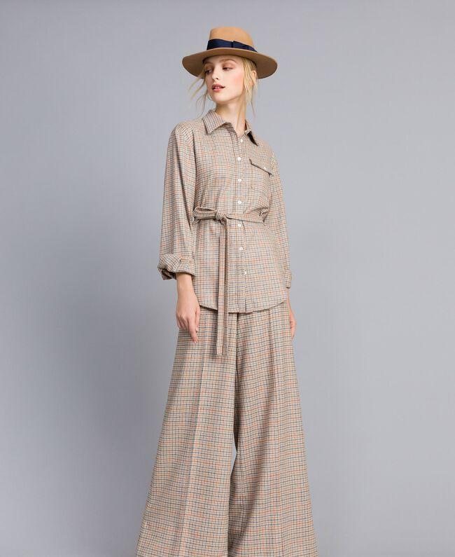 Printed flannel shirt Multicolour Check Woman TA8215-01