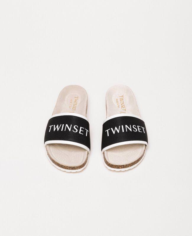 Fabric sliders with logo White Child 201GCJ020-04
