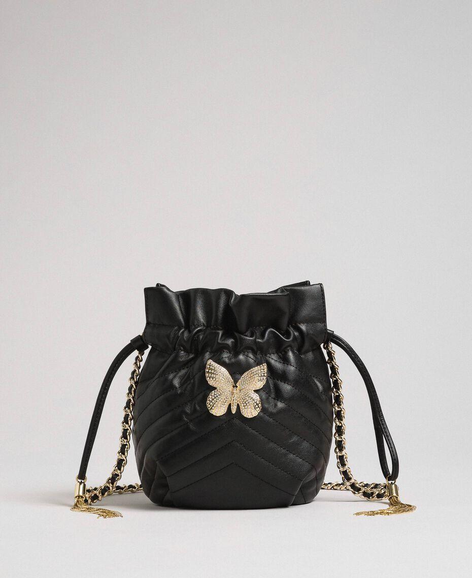 Petit sac seau en cuir matelassé Noir Femme 192TA7105-02