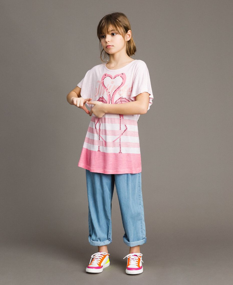 "Striped jersey maxi T-shirt with rhinestones ""Crystal Pink"" Melange Child 191GJ2721-02"