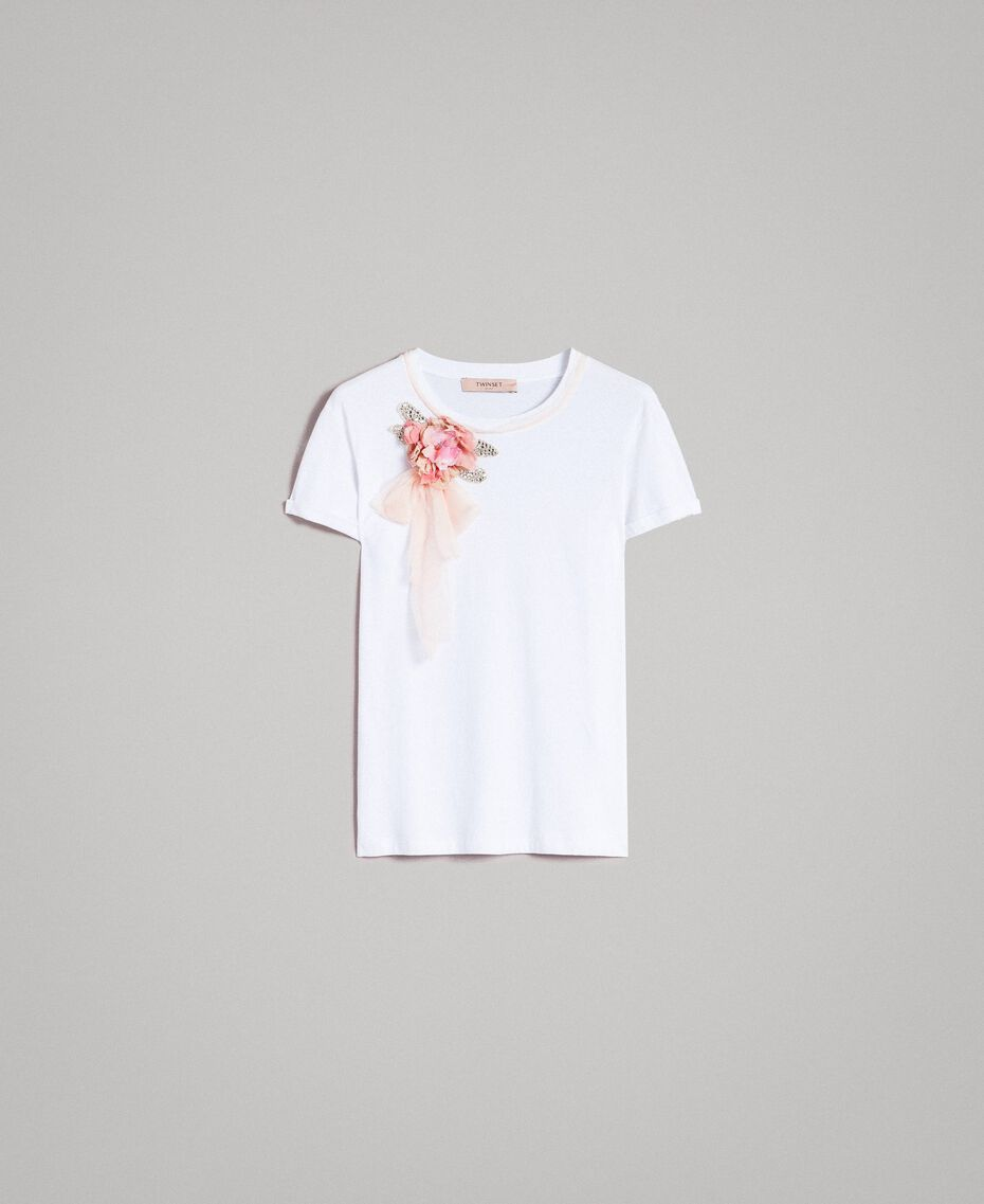 Flower and rhinestones T-shirt White Woman 191TP2602-0S