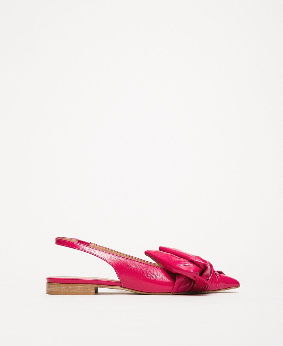 Patent leather ballerina pumps with bow Black Cherry Woman 201TCP110-03