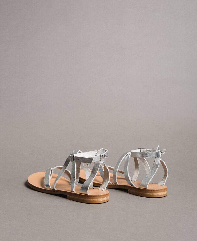 Laminierte Leder-Sandalen mit Riemchen Silber / Nickel Frau 191TCT09W-04