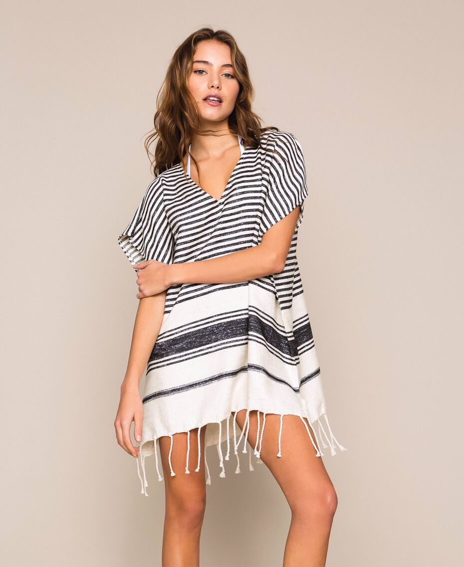 Jacquard poncho with stripes and fringes Ivory / Black Woman 201LM4ZCC-01