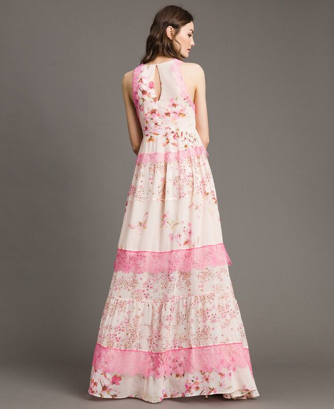 "Floral georgette long dress ""Blossom / Peach Mix"" Pink Print Woman 191TP2713-03"