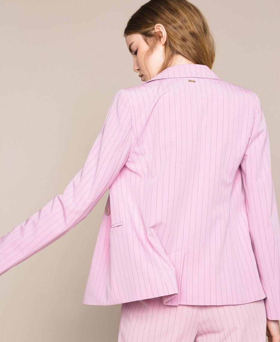 "Double breasted pin stripe blazer ""Candy"" Pink Pin Stripe Jacquard Woman 201ST2080-01"