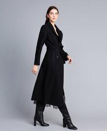 Cappotto lungo doppiopetto in panno Nero Donna TA821L-02