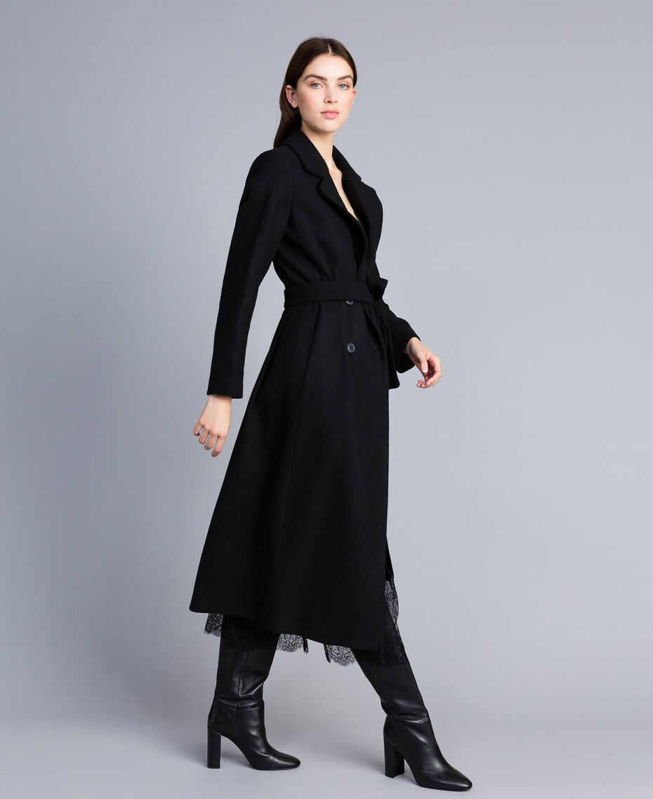 Manteau long croisé en drap Noir Femme TA821L-02