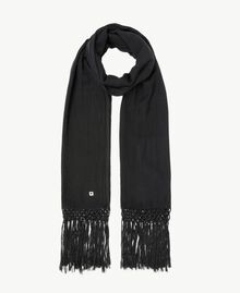 Embroidered scarf Black Woman OS8T6K-01