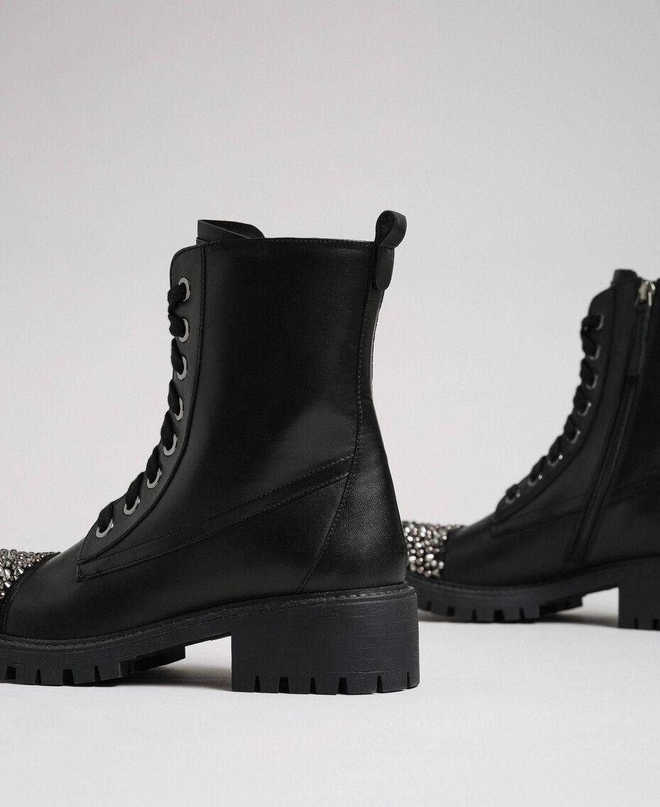 Leather combat boots with full rhinestone toe Black Woman 192TCP01J-02