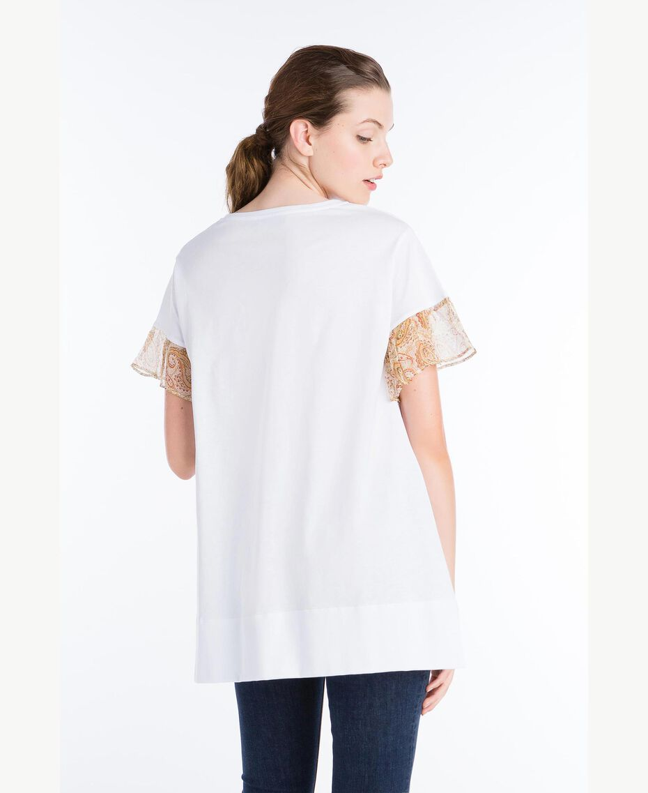 T-shirt with lace sleeves White Woman NS82AQ-03