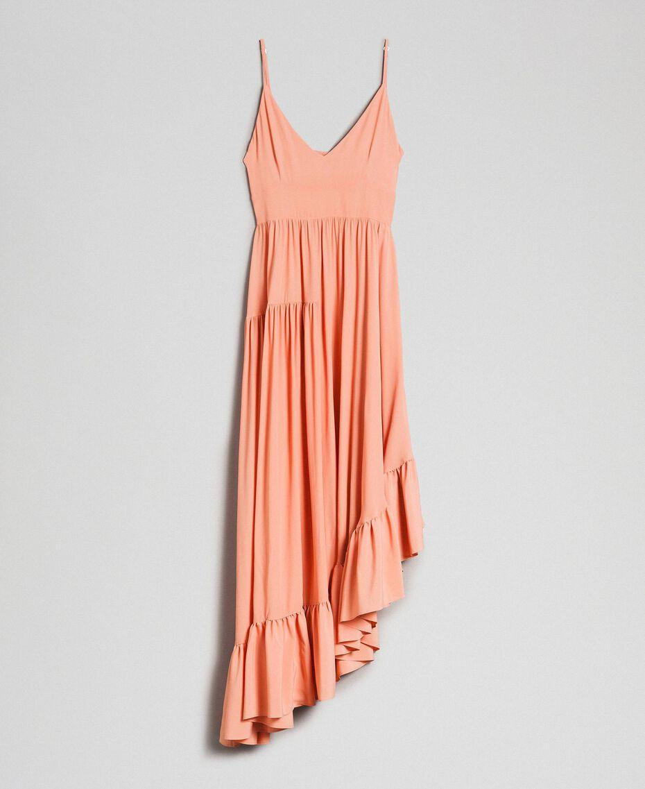 Asymmetric crêpe de Chine dress Mousse Pink Woman 192TP2384-0S