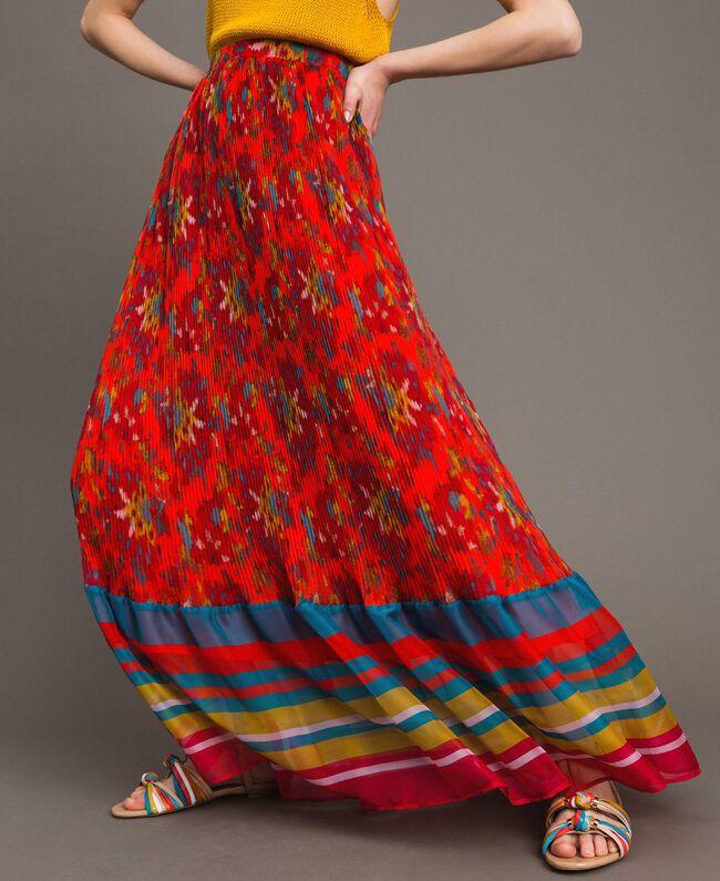 Floral print chiffon long skirt Multicolour Chiné / Grenadine Striping Woman 191TT2362-04