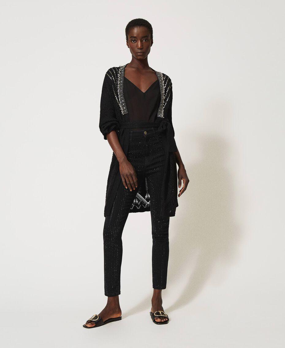 Jean skinny avec cristaux Noir Femme 211TT2320-02
